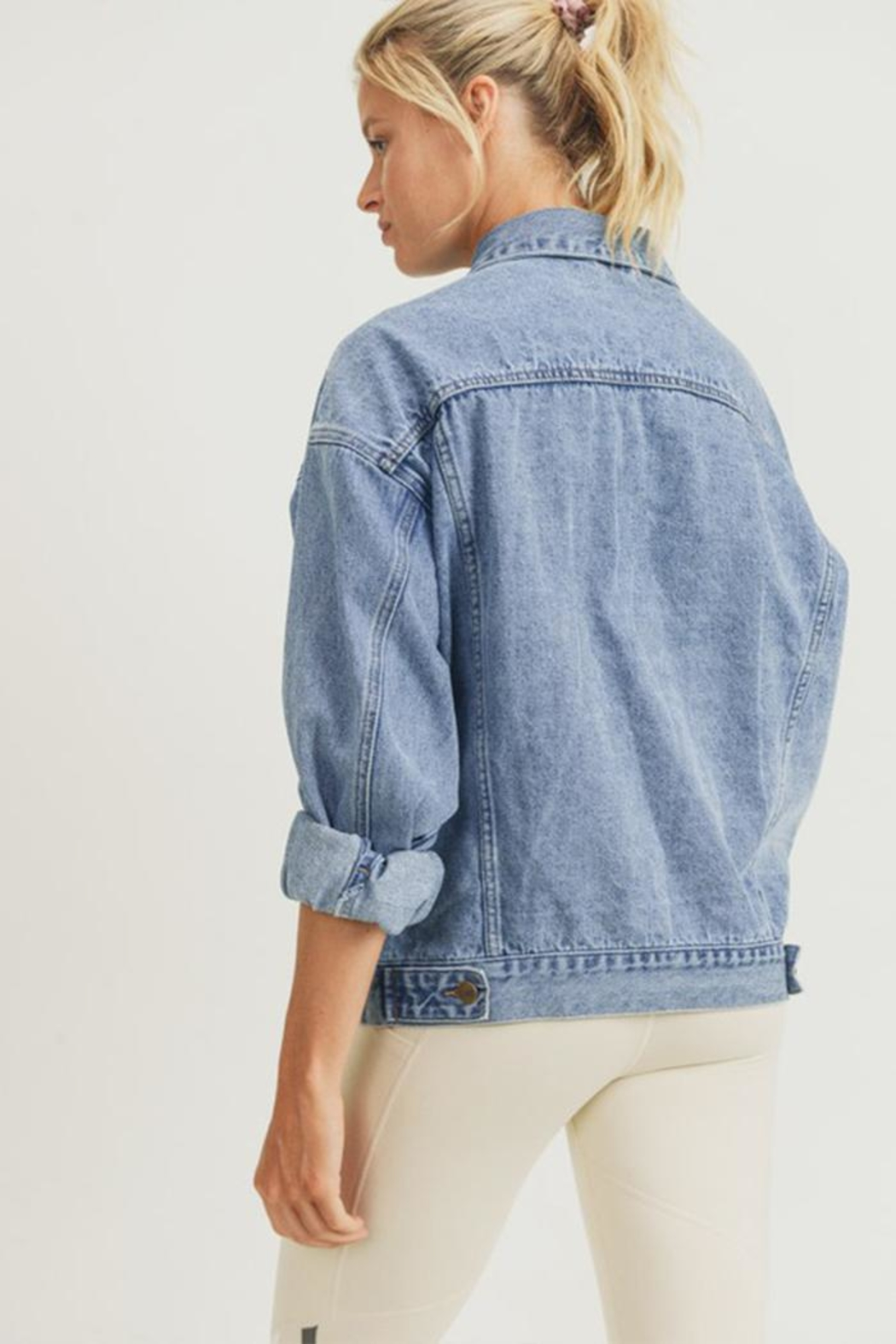 Mono B Boxy-Cut Denim Jacket - Front Full Image