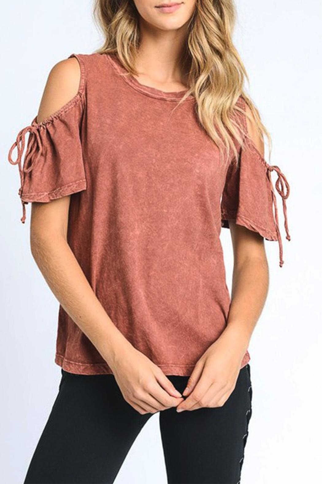 Mono B Cold Shoulder Top - Front Cropped Image