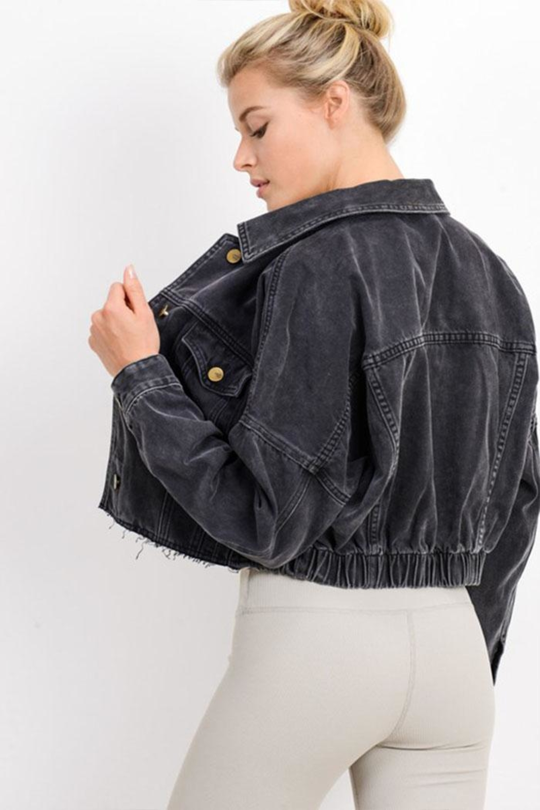 Mono B Crop Denim Jacket - Back Cropped Image