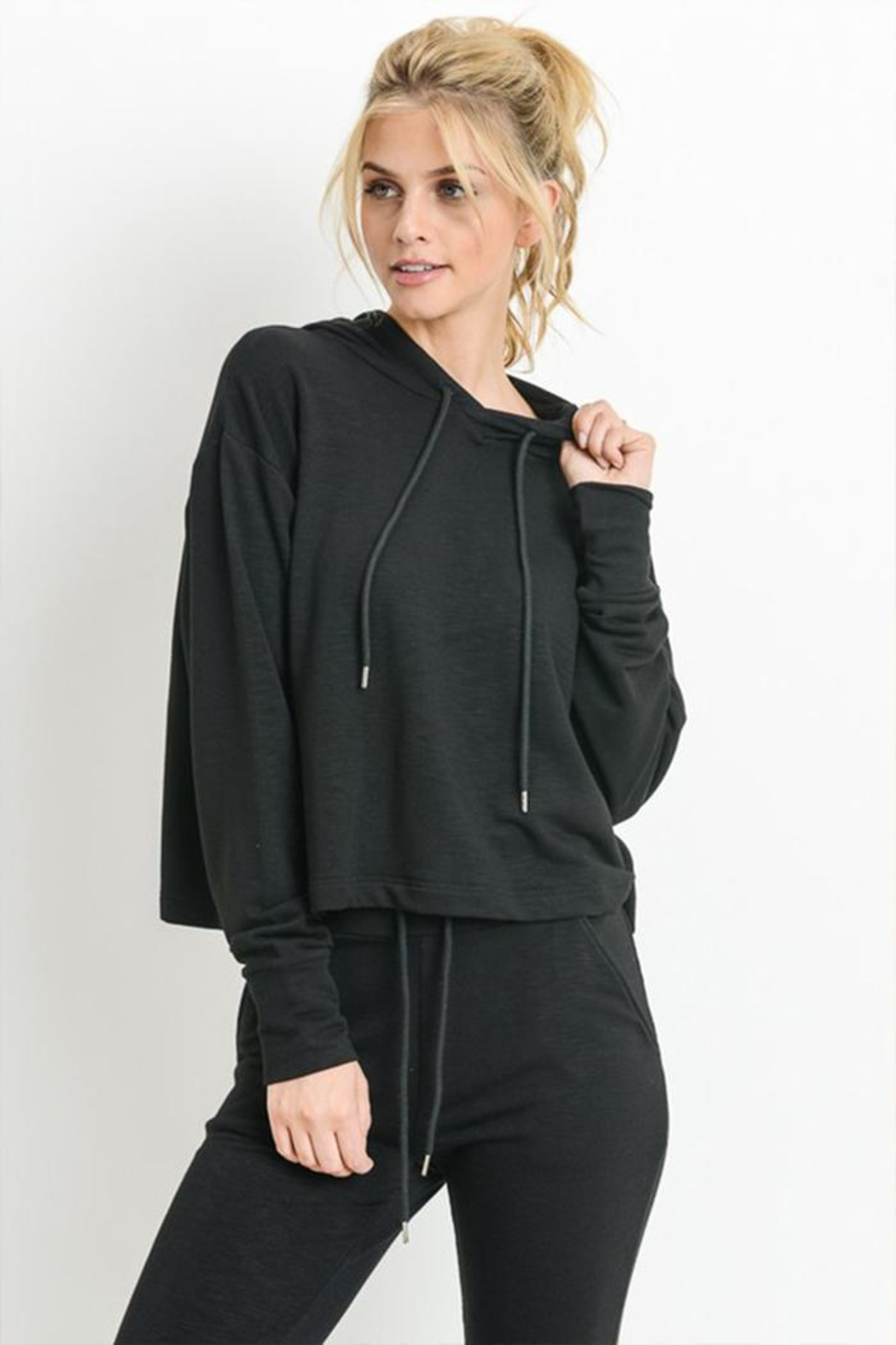 Mono B Cropped Boxy Hoodie - Front Cropped Image