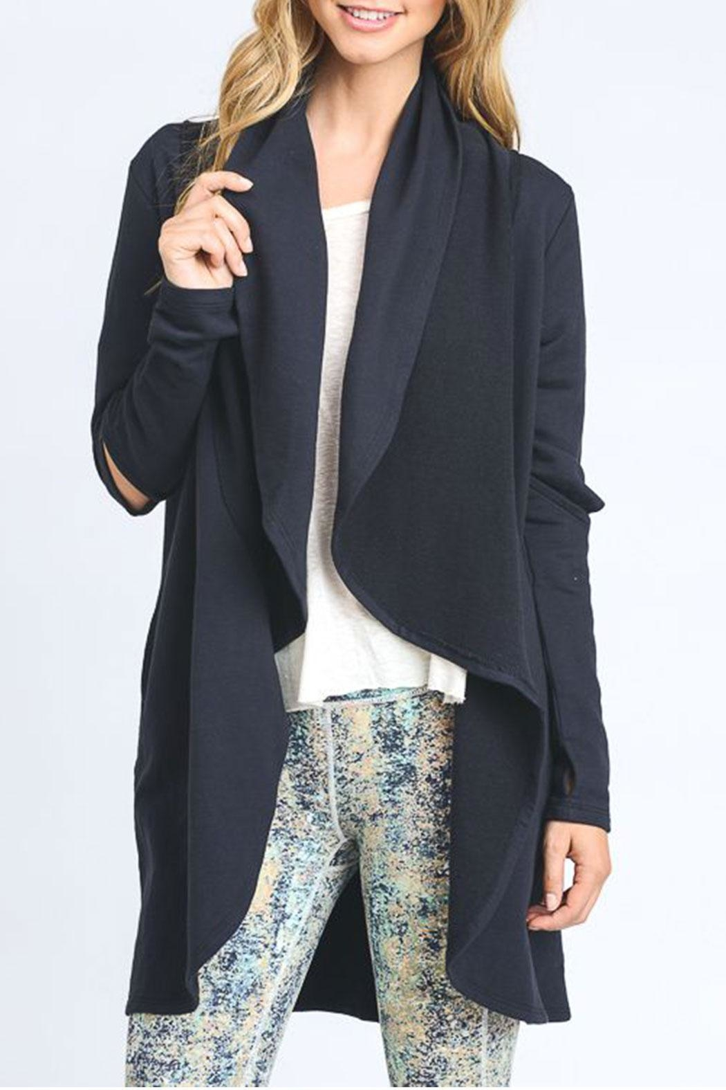 Mono B Cut Out Sleeve Cardigan - Front Cropped Image