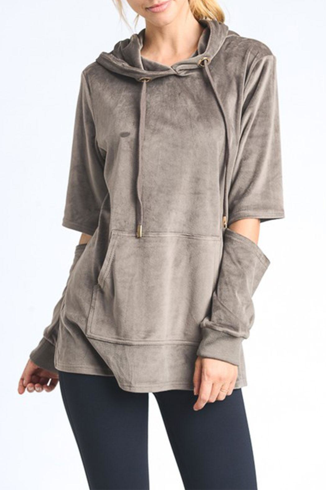Mono B Cutout Velour Hoodie Jacket - Front Cropped Image