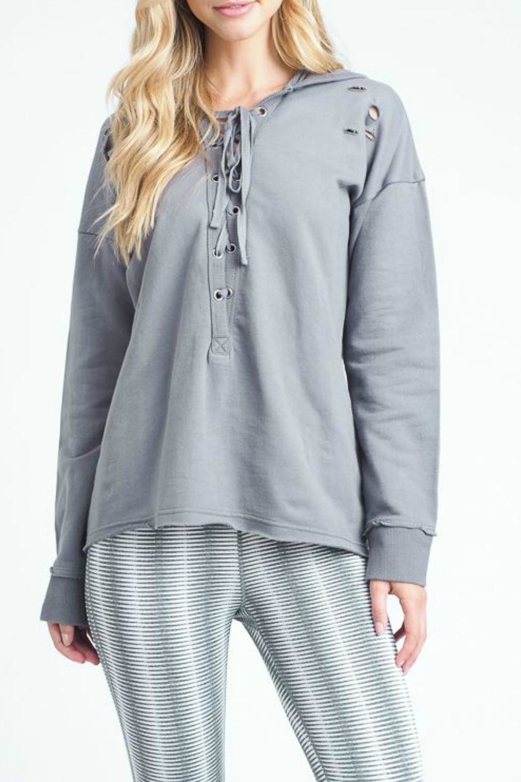Mono B Distressed Tie-Up Hoodie - Front Cropped Image