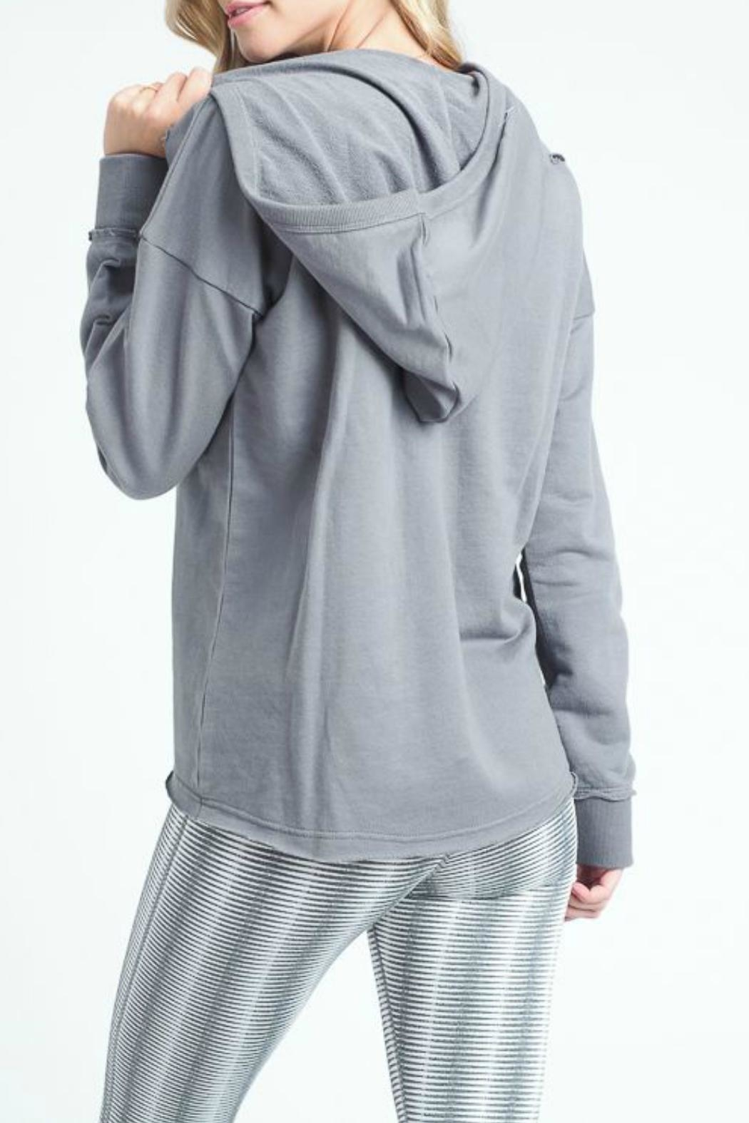 Mono B Distressed Tie-Up Hoodie - Front Full Image