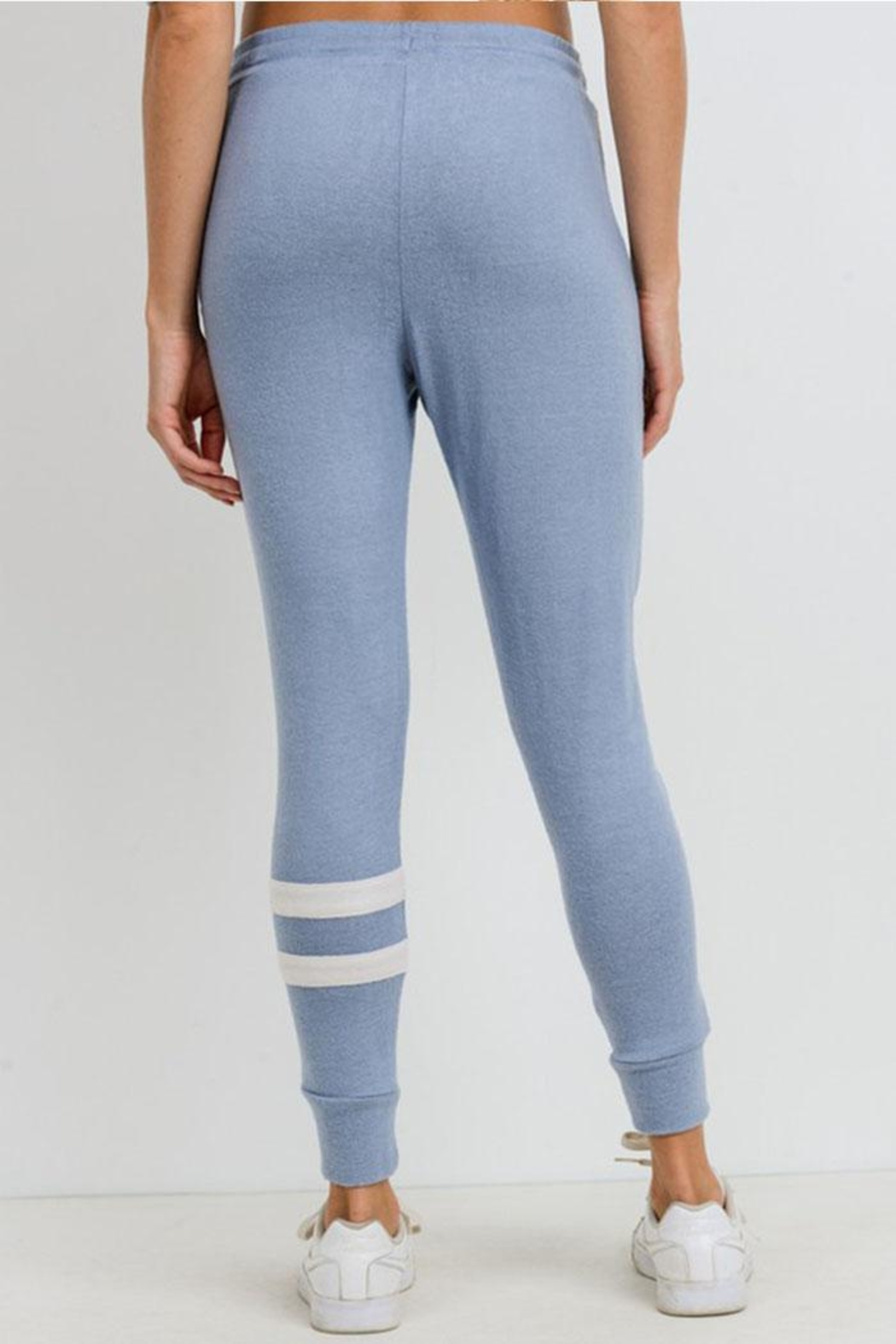 Mono B Double Stripe Joggers - Back Cropped Image