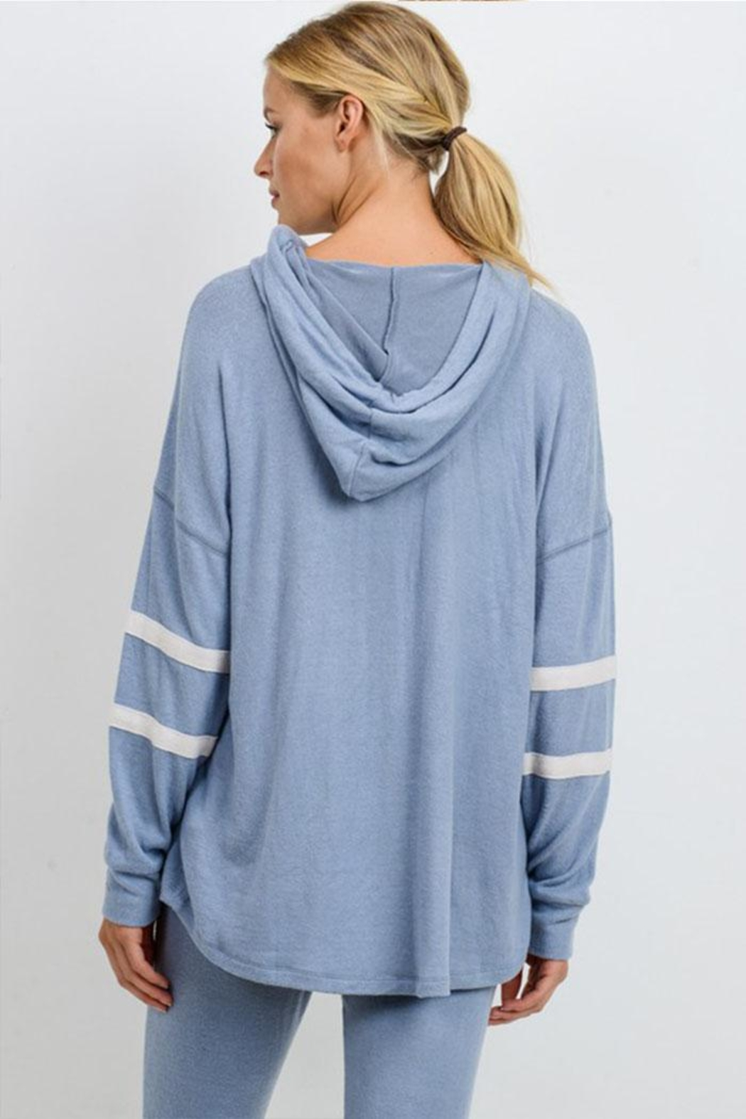 Mono B Double Stripe Pullover - Back Cropped Image