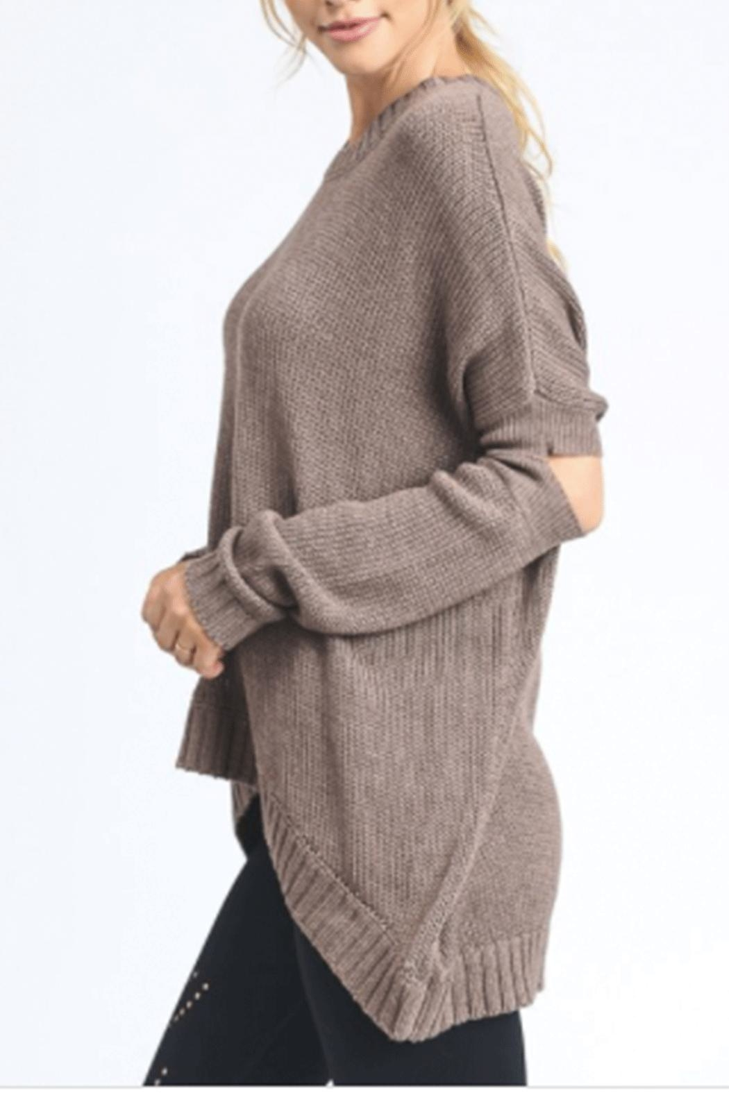 Mono B Elbow Cut-Out Sweater - Front Cropped Image