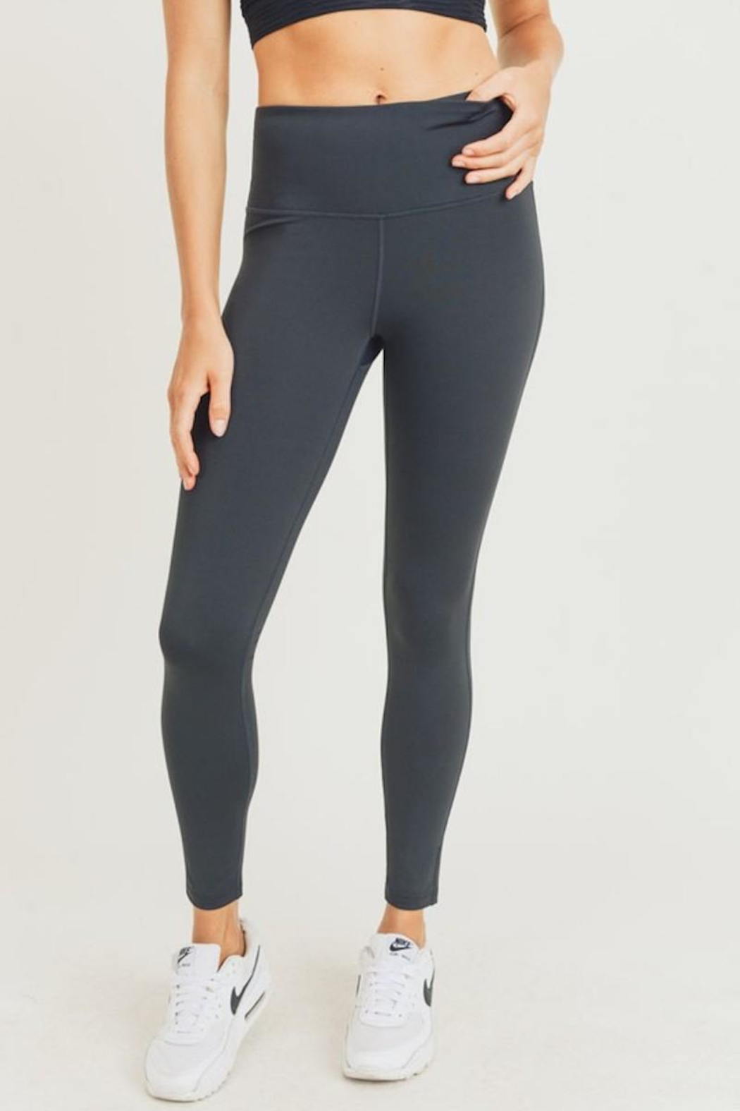 Mono B Black Charcoal Highwaist Leggings - Front Cropped Image