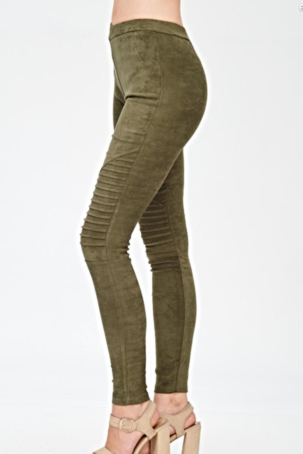 Mono B Faux Suede Leggings - Front Cropped Image