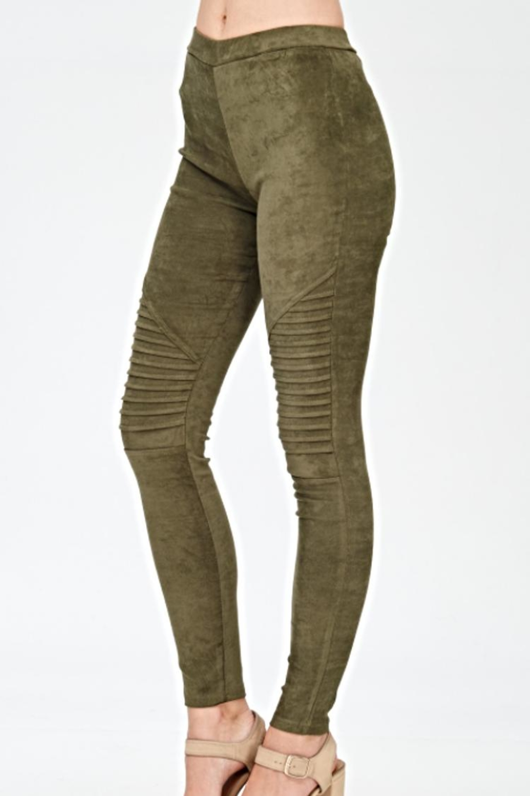 Mono B Faux Suede Leggings - Front Full Image