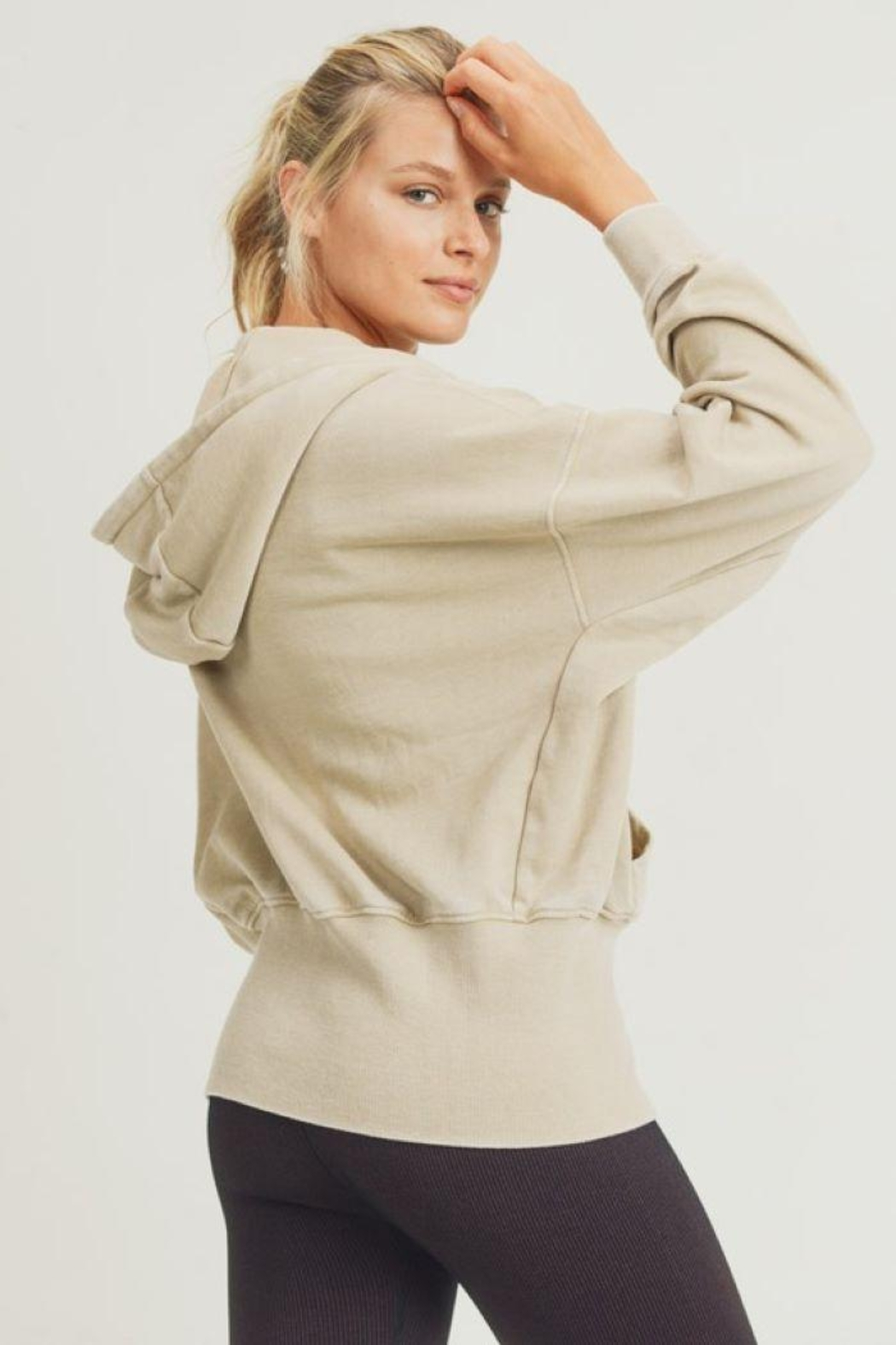 Mono B Fleece Hoodie Jacket With Tapered Sleeves - Front Full Image