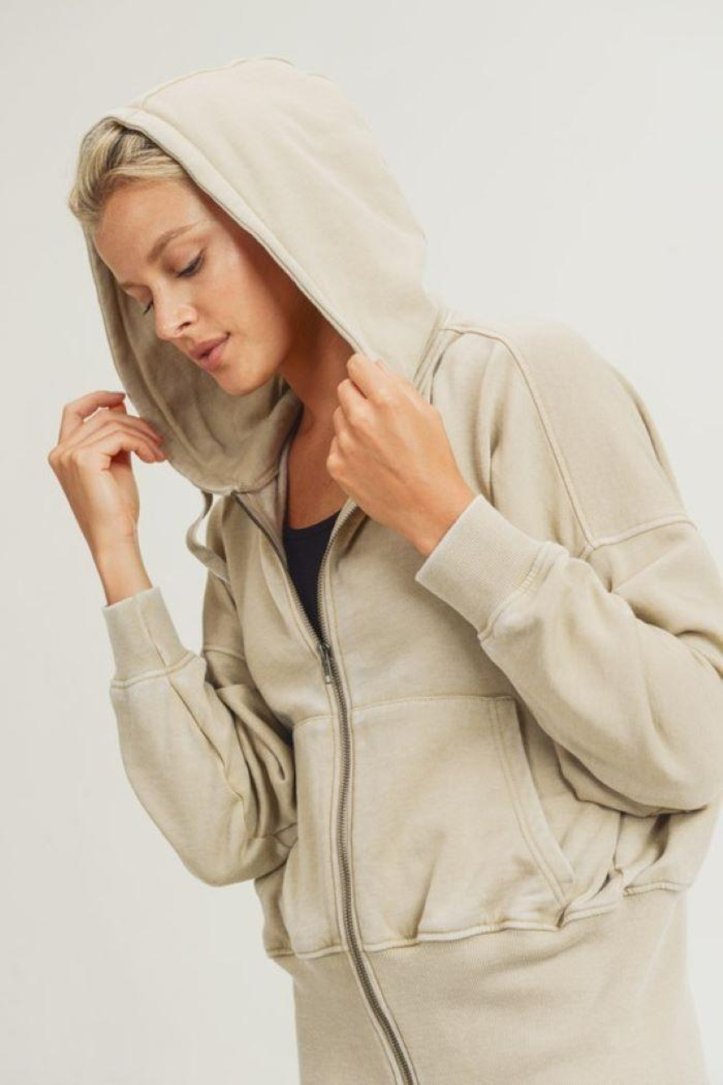 Mono B Fleece Hoodie Jacket With Tapered Sleeves - Side Cropped Image