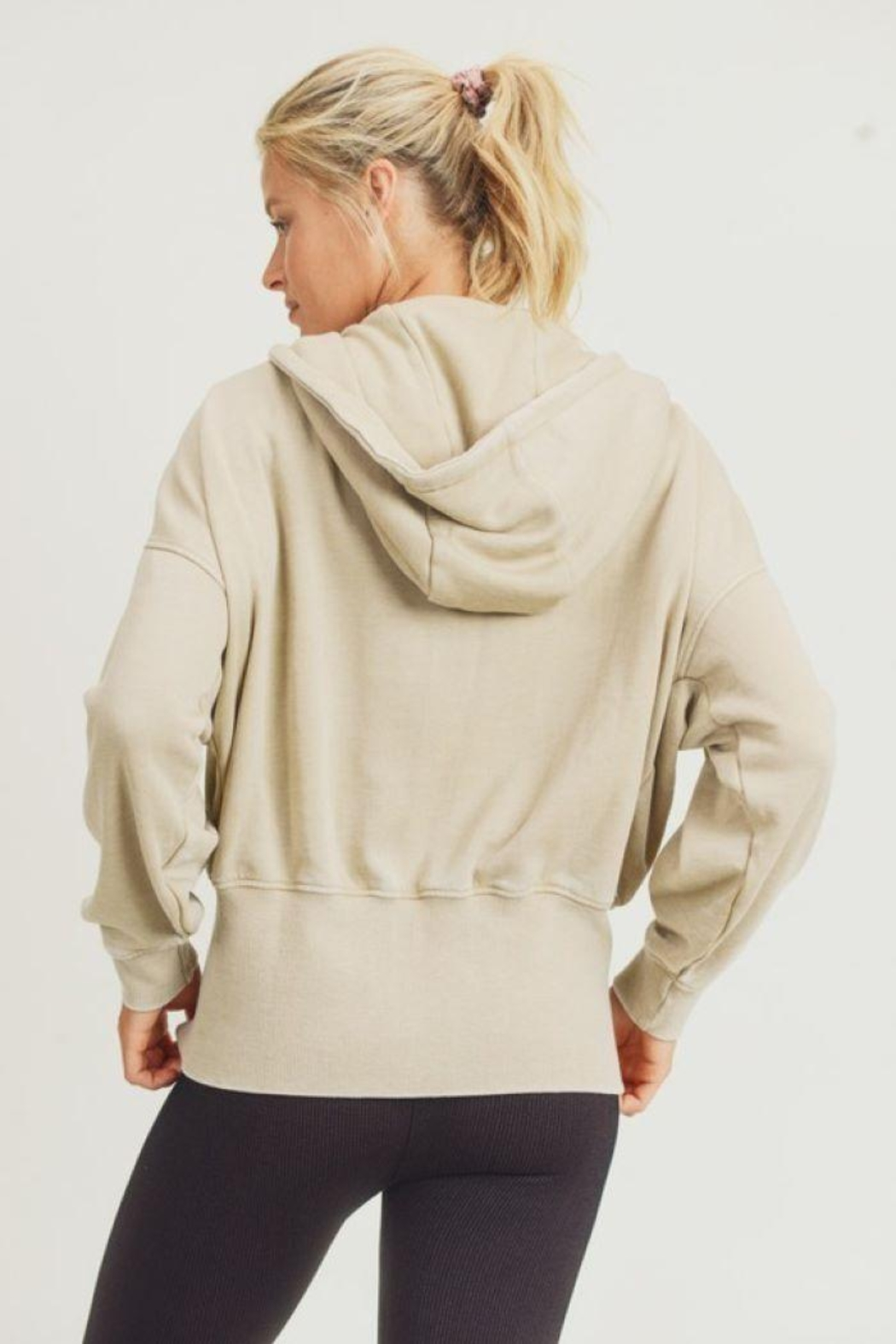 Mono B Fleece Hoodie Jacket With Tapered Sleeves - Back Cropped Image