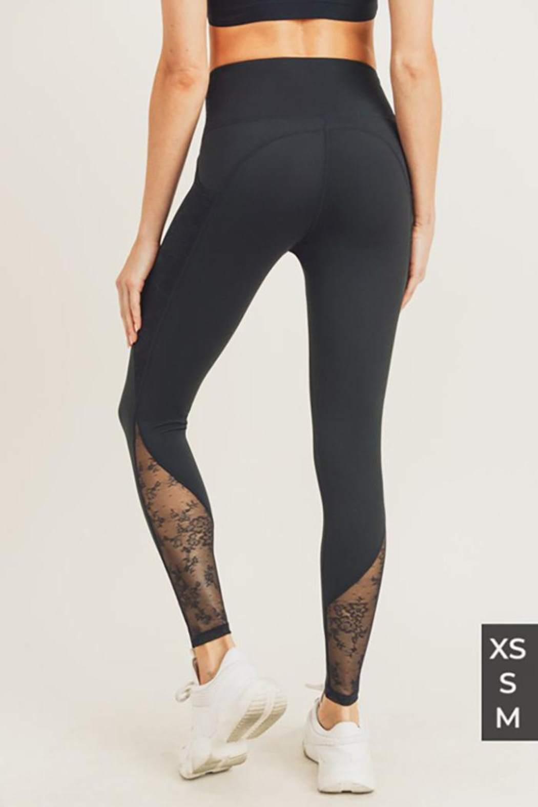 Mono B Floral Lace Mesh Splice High Waist Leggings - Side Cropped Image