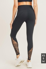 Mono B Floral Lace Mesh Splice High Waist Leggings - Side cropped