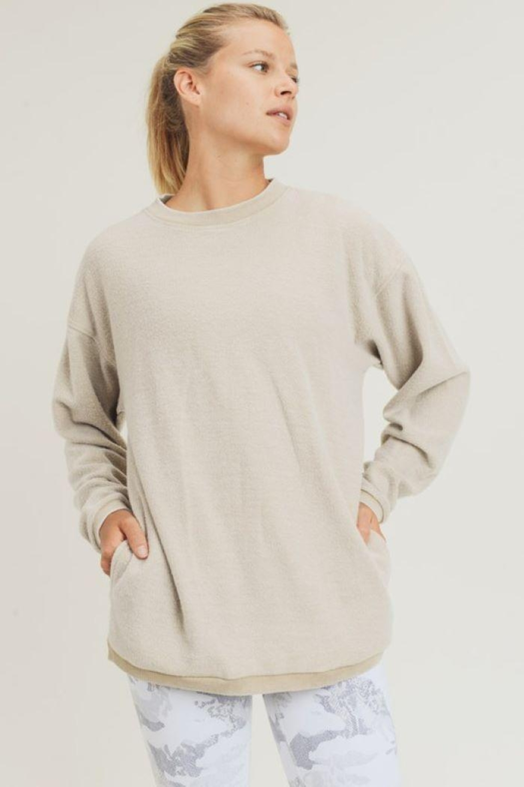 Mono B Fuzzy Mineral-Washed Pullover - Main Image