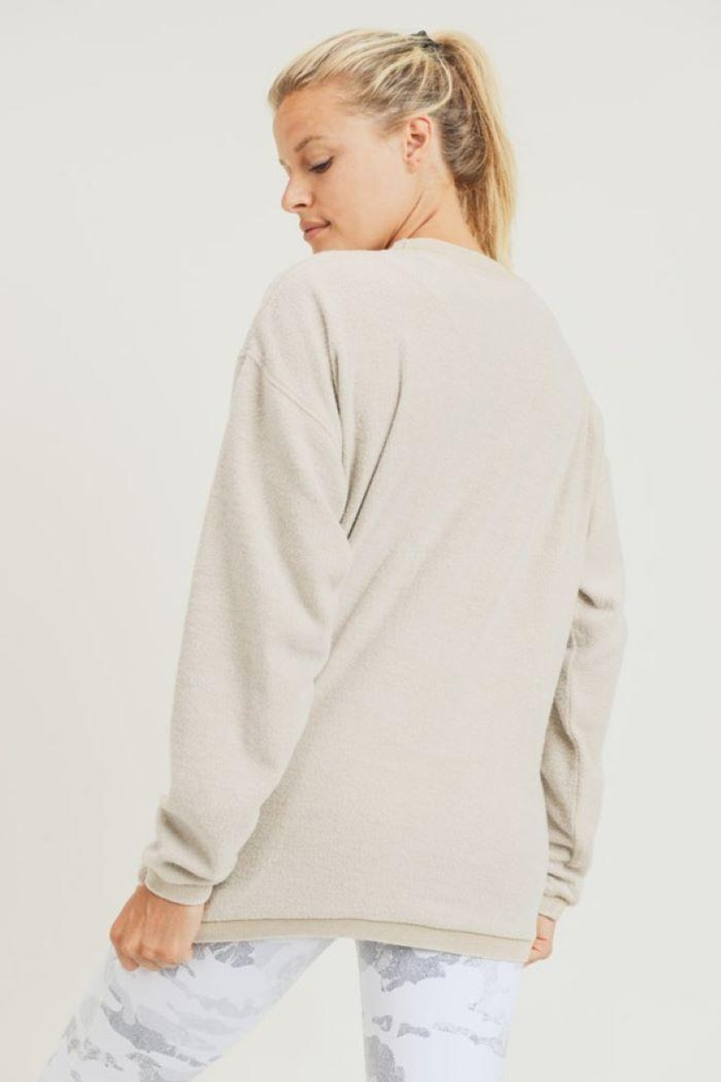 Mono B Fuzzy Mineral-Washed Pullover - Side Cropped Image