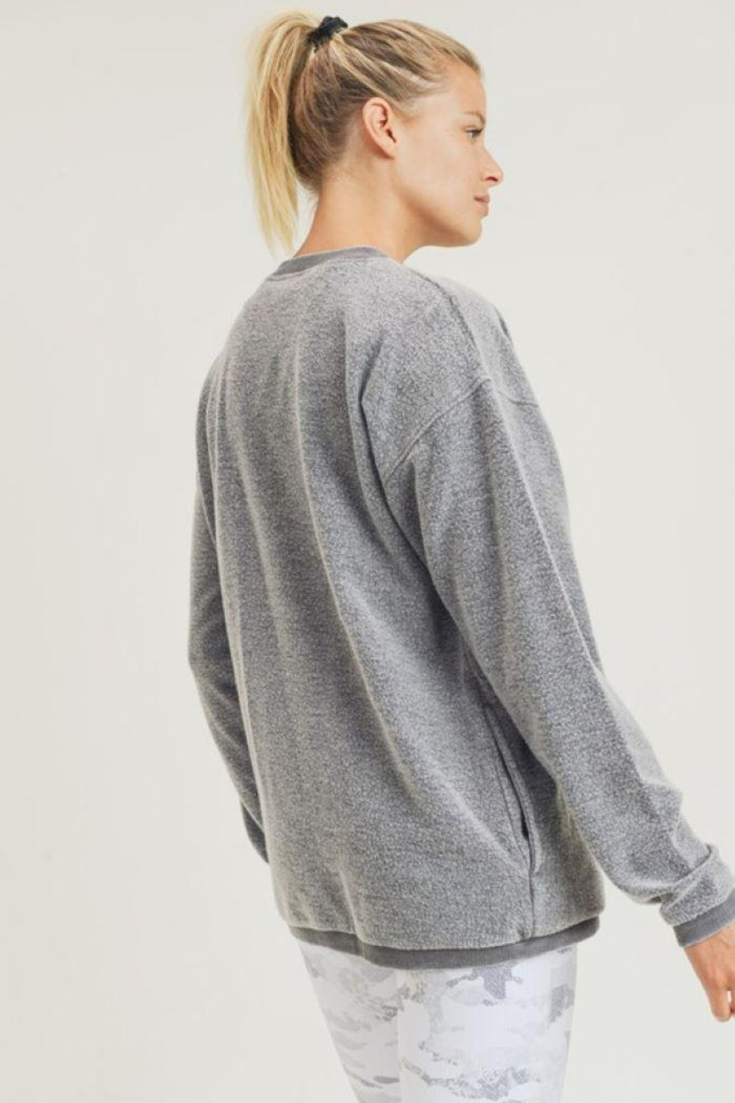 Mono B Fuzzy Mineral-Washed Pullover - Front Full Image