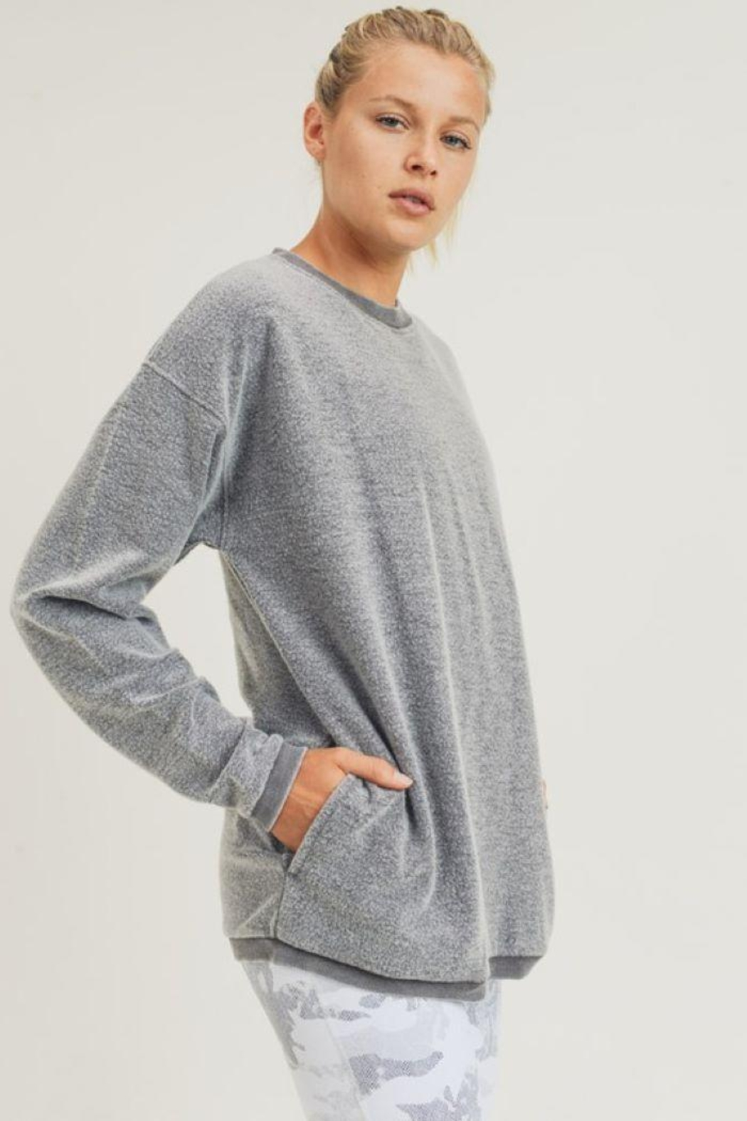 Mono B Fuzzy Mineral-Washed Pullover - Back Cropped Image