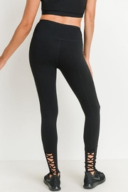 Mono B Highwaist Lattice Back Solid Full Leggings - Product Mini Image