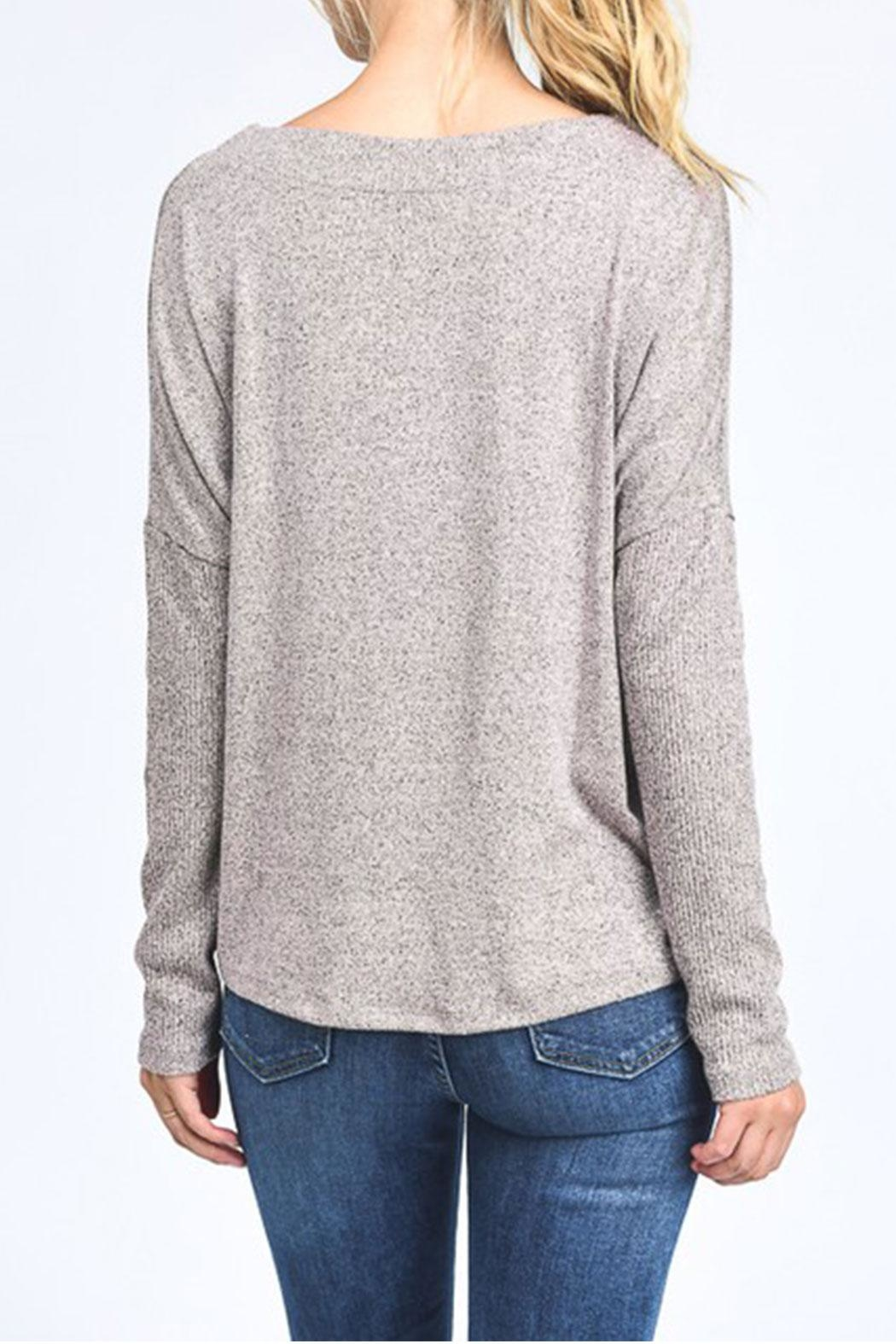 Mono B Lace Up Pullover Top - Front Full Image