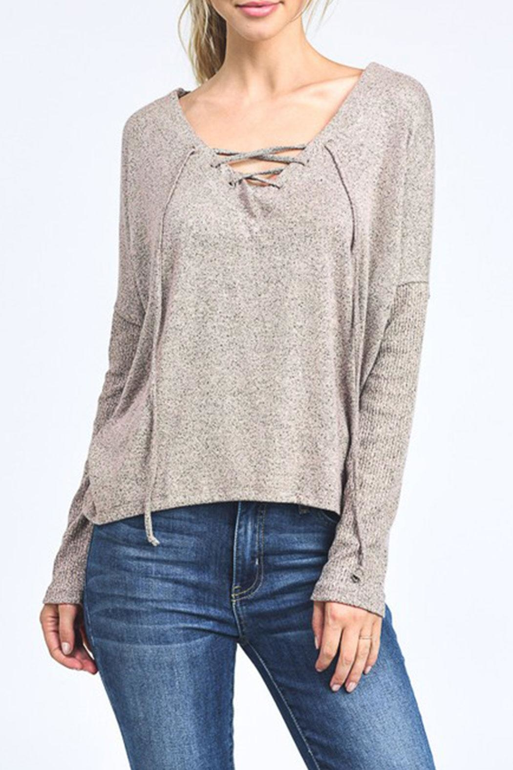 Mono B Lace Up Pullover Top - Main Image