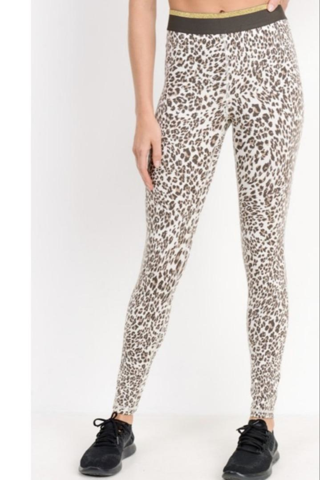 Mono B Leopard Workout Leggings - Front Cropped Image
