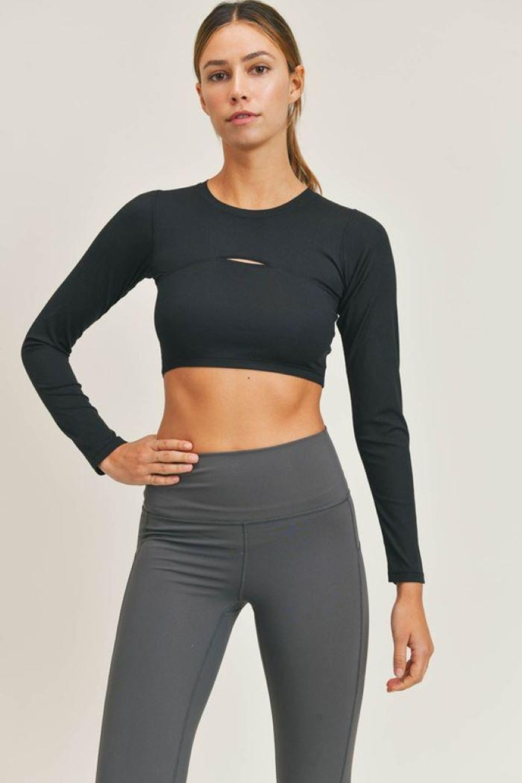 Mono B Micro-Ribbed Long Sleeve Cropped  Top - Front Cropped Image