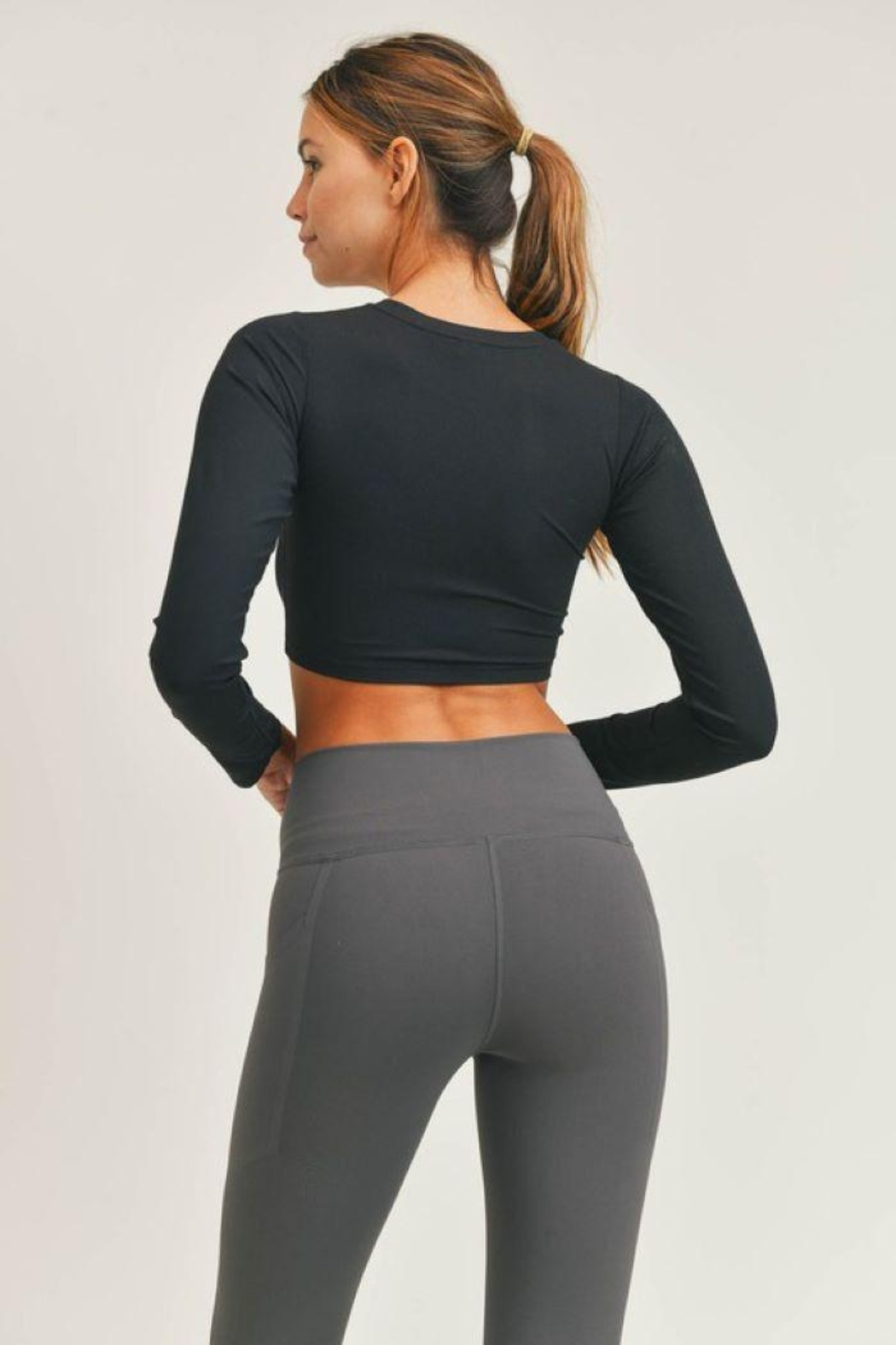 Mono B Micro-Ribbed Long Sleeve Cropped  Top - Front Full Image