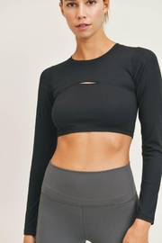 Mono B Micro-Ribbed Long Sleeve Cropped  Top - Side cropped