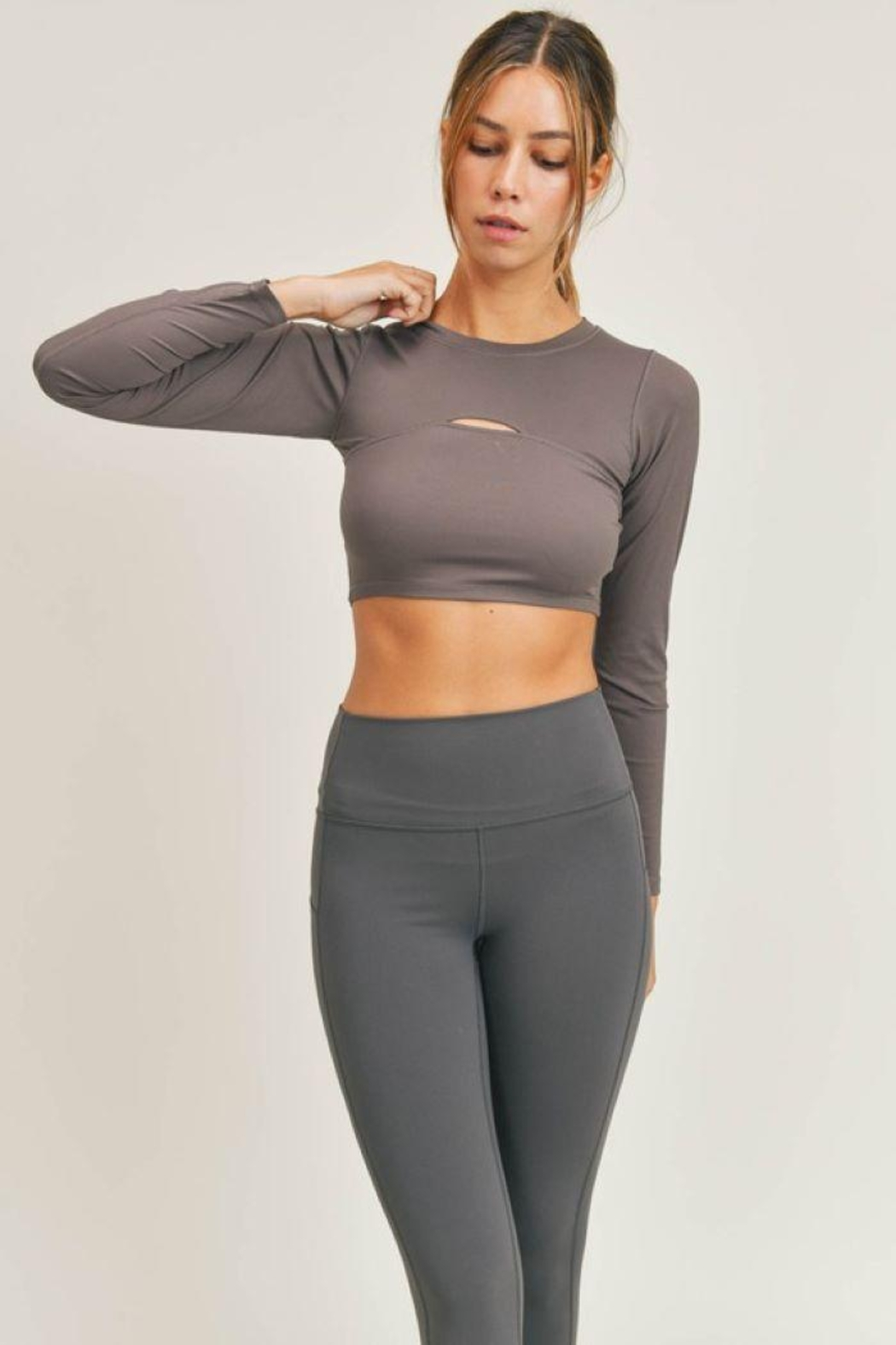 Mono B Micro-Ribbed Long Sleeve Cropped  Top - Back Cropped Image
