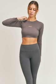 Mono B Micro-Ribbed Long Sleeve Cropped  Top - Back cropped