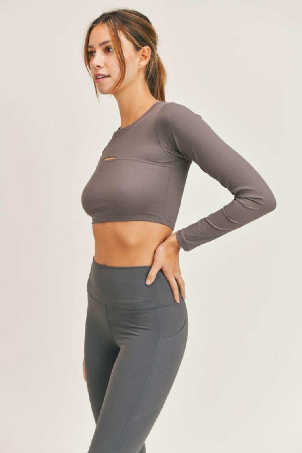 Mono B Micro-Ribbed Long Sleeve Cropped  Top - Side Cropped Image
