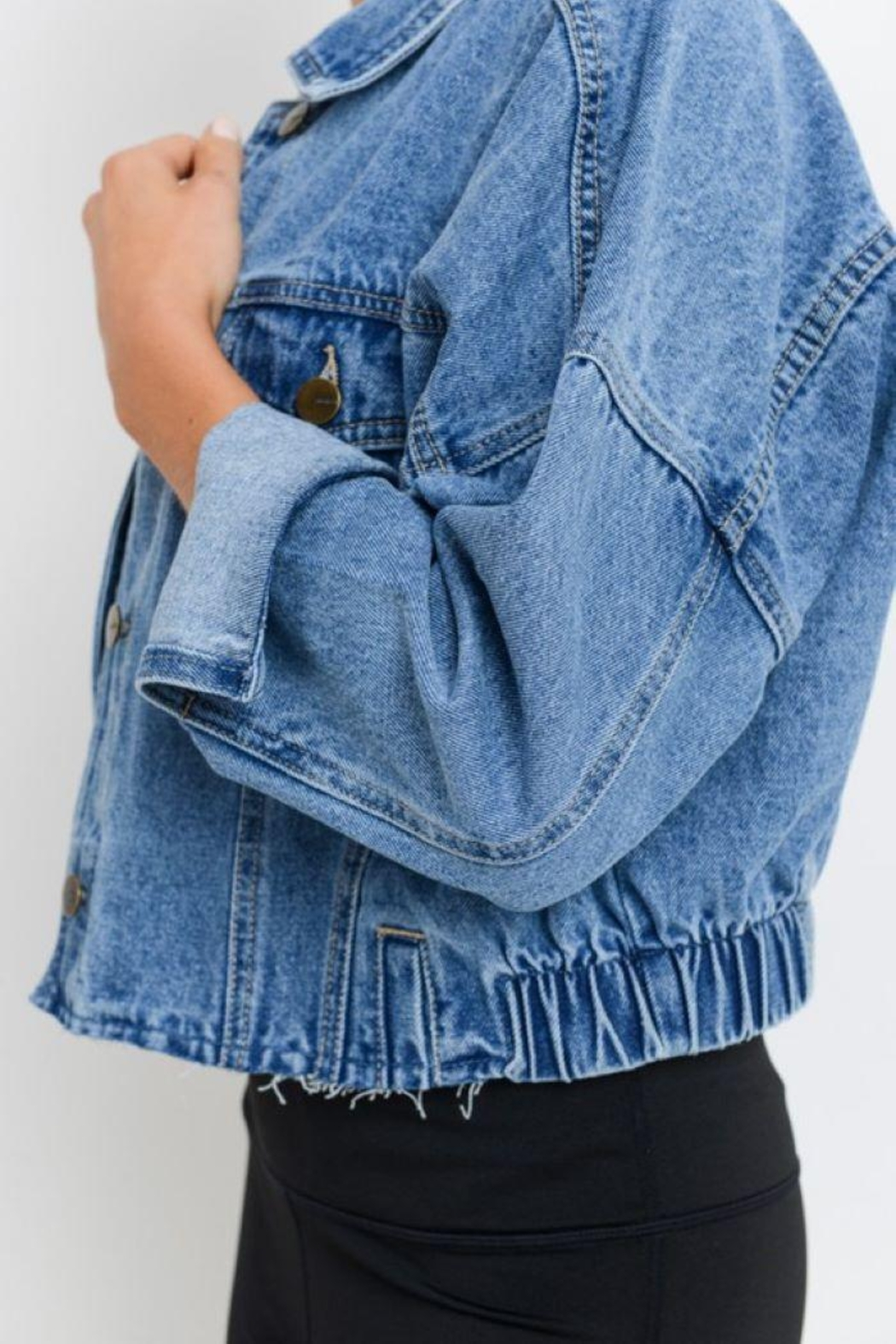 Mono B Raw & Ribbed Crop Denim Jacket - Back Cropped Image