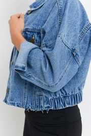 Mono B Raw & Ribbed Crop Denim Jacket - Back cropped