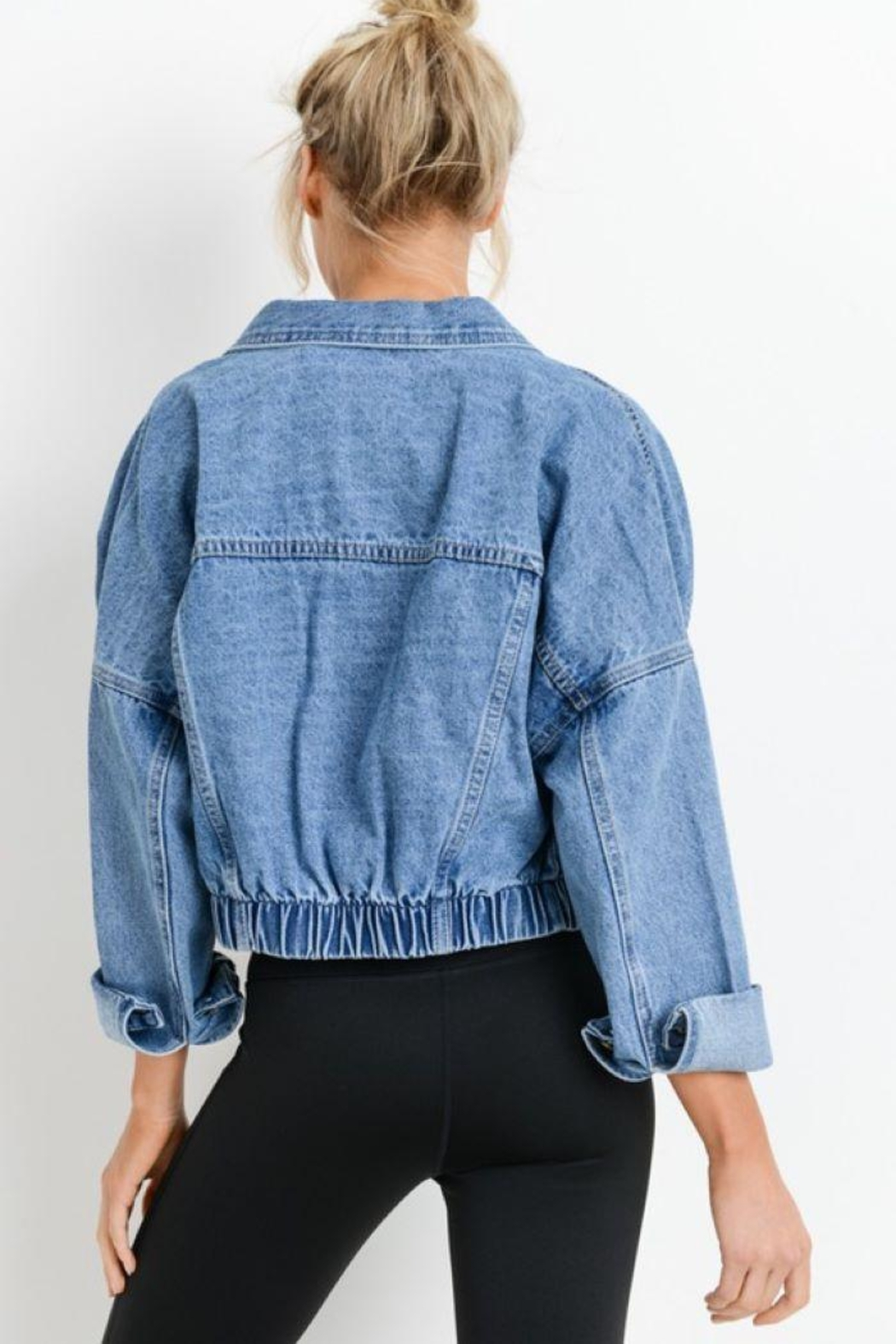 Mono B Raw & Ribbed Crop Denim Jacket - Side Cropped Image
