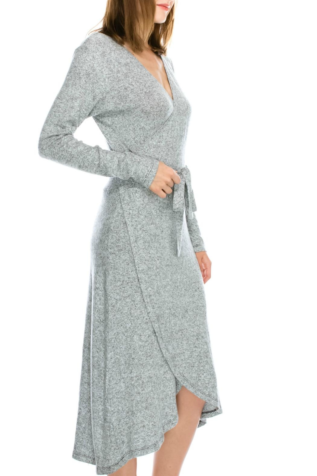 Mono B Soft Wrap Dress - Front Full Image