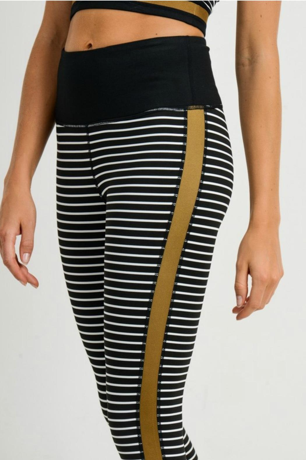 Mono B Striped Colorblock Legging - Side Cropped Image