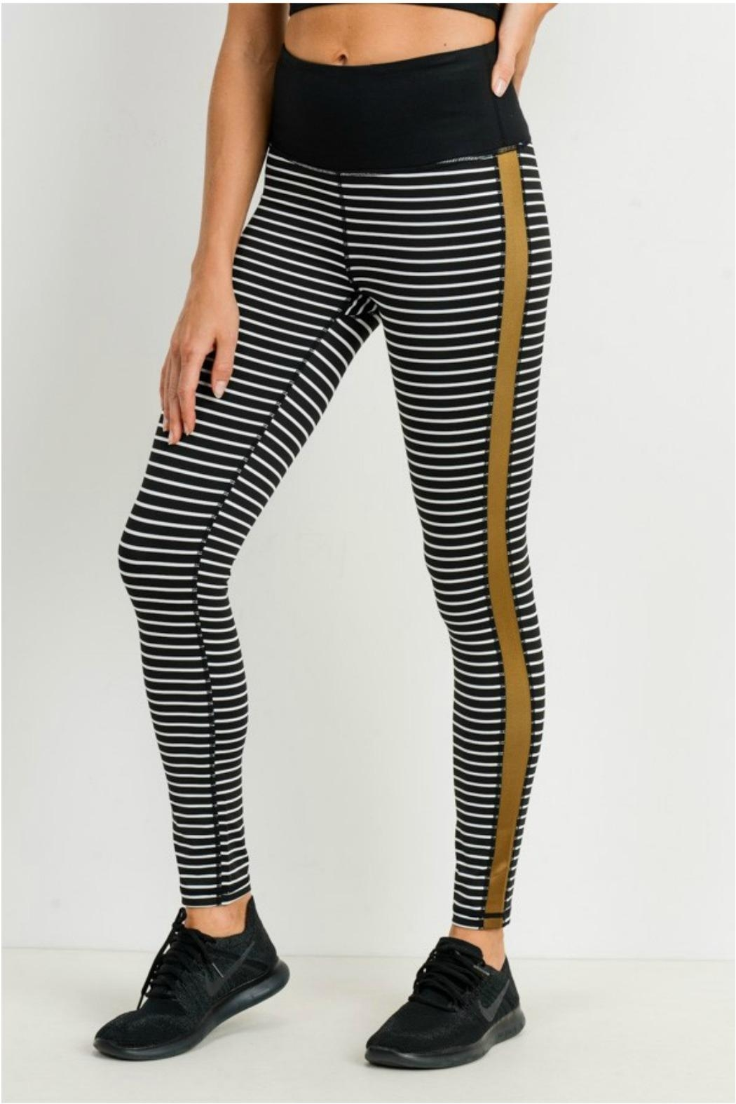 Mono B Striped Colorblock Legging - Front Full Image