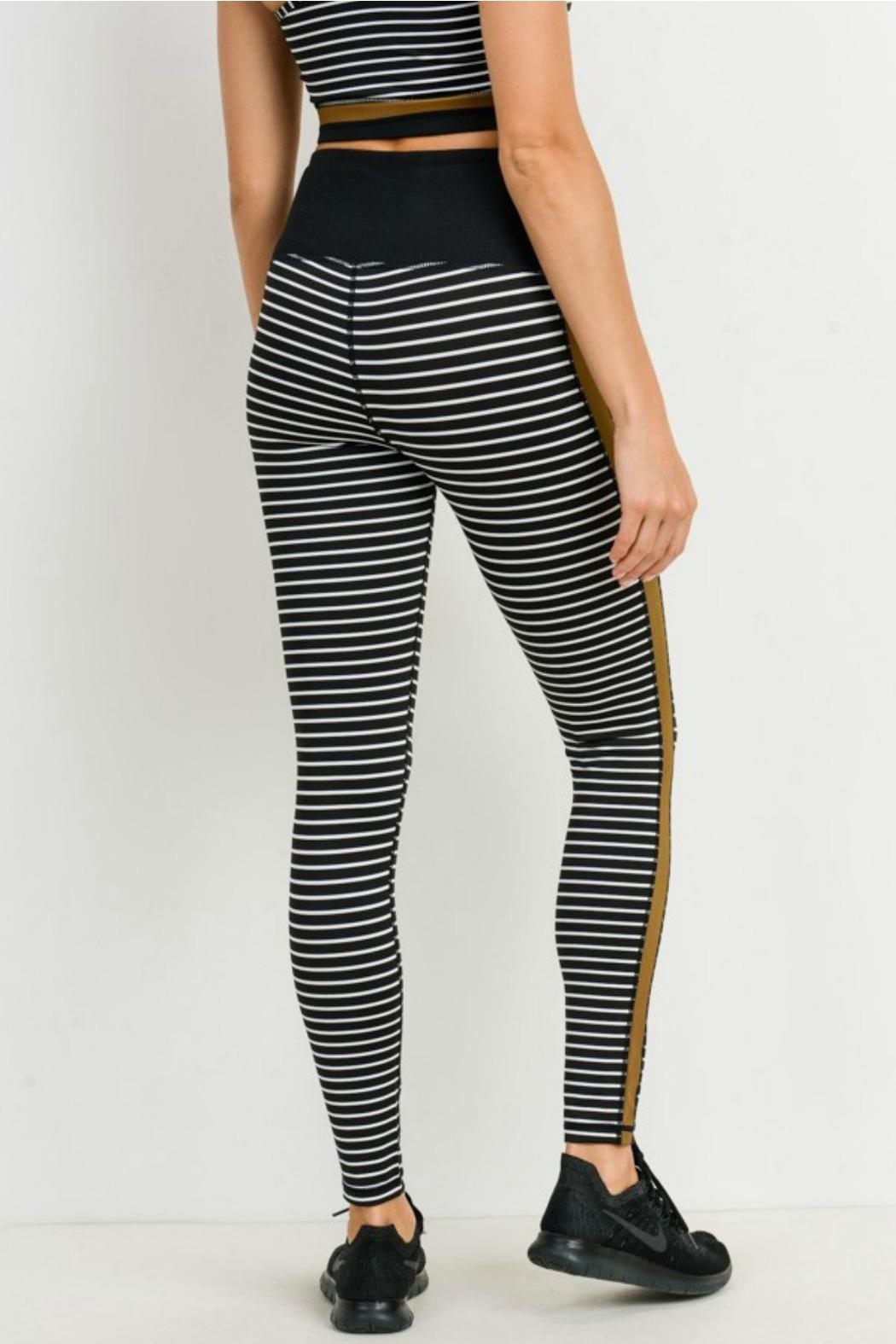 Mono B Striped Colorblock Legging - Back Cropped Image