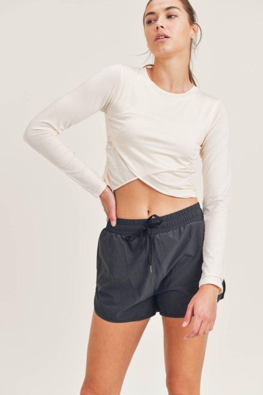 Mono B Tencel Cropped Long Sleeve Top - Front Full Image