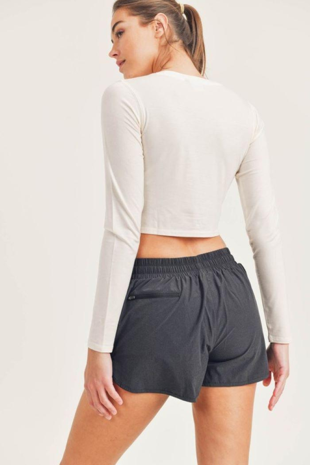 Mono B Tencel Cropped Long Sleeve Top - Side Cropped Image
