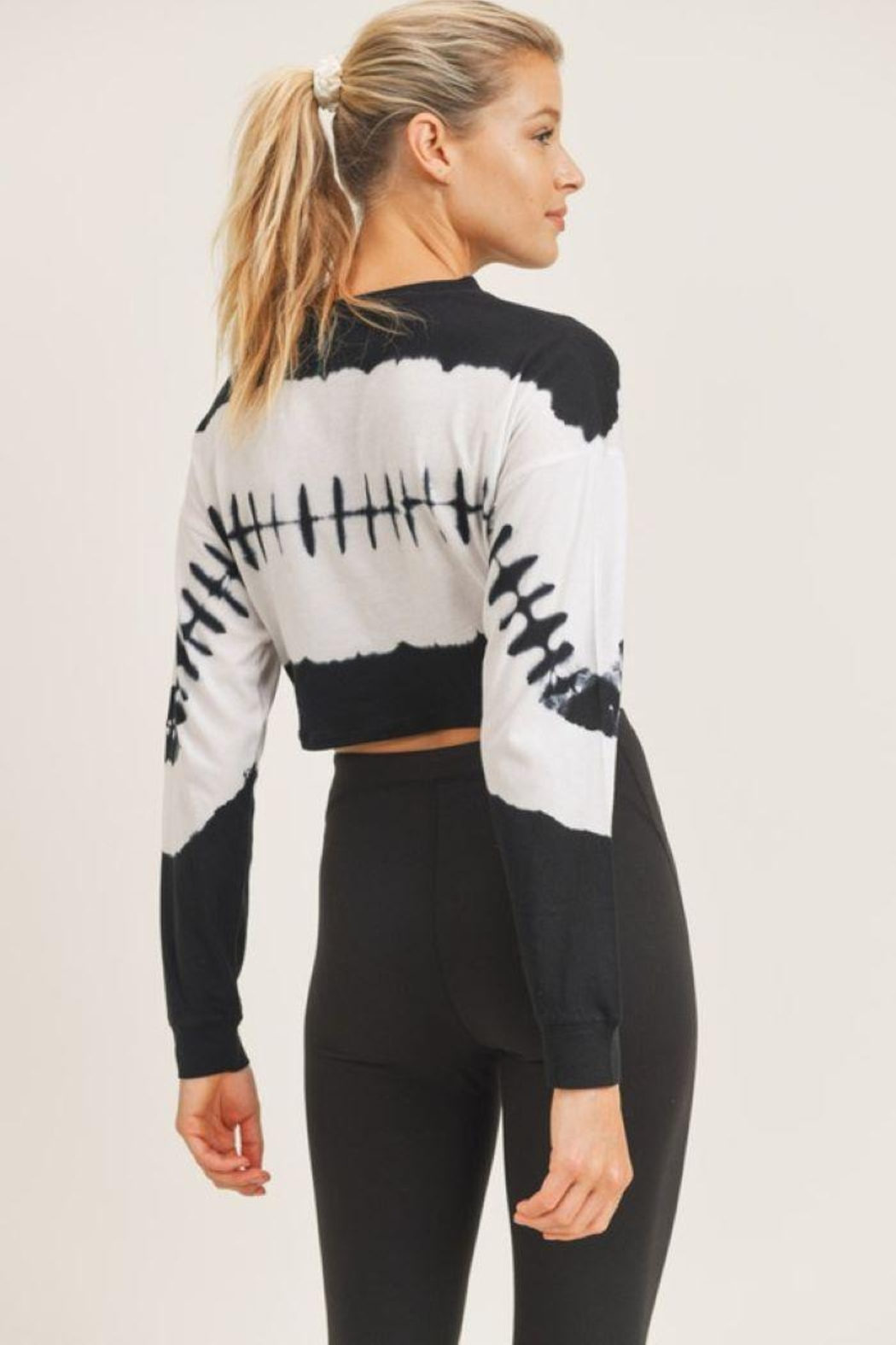 Mono B Twisted Front Tie-Dye Cropped Top - Front Full Image