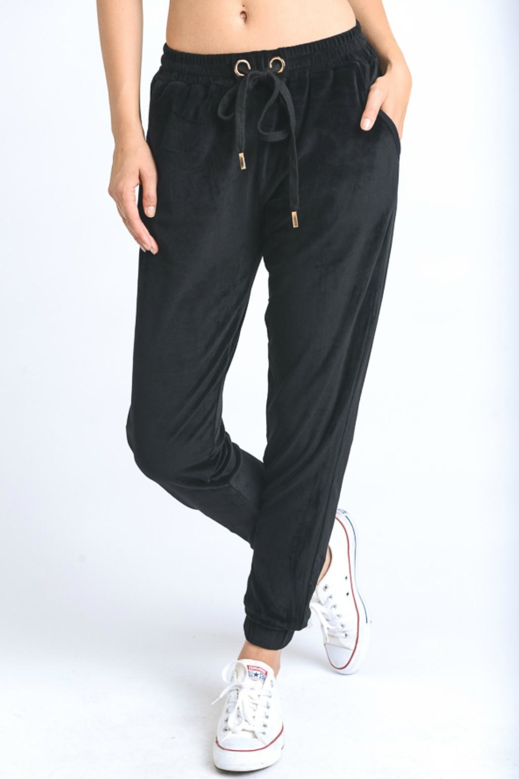 Mono B Velour Drawstring Jogger - Front Cropped Image