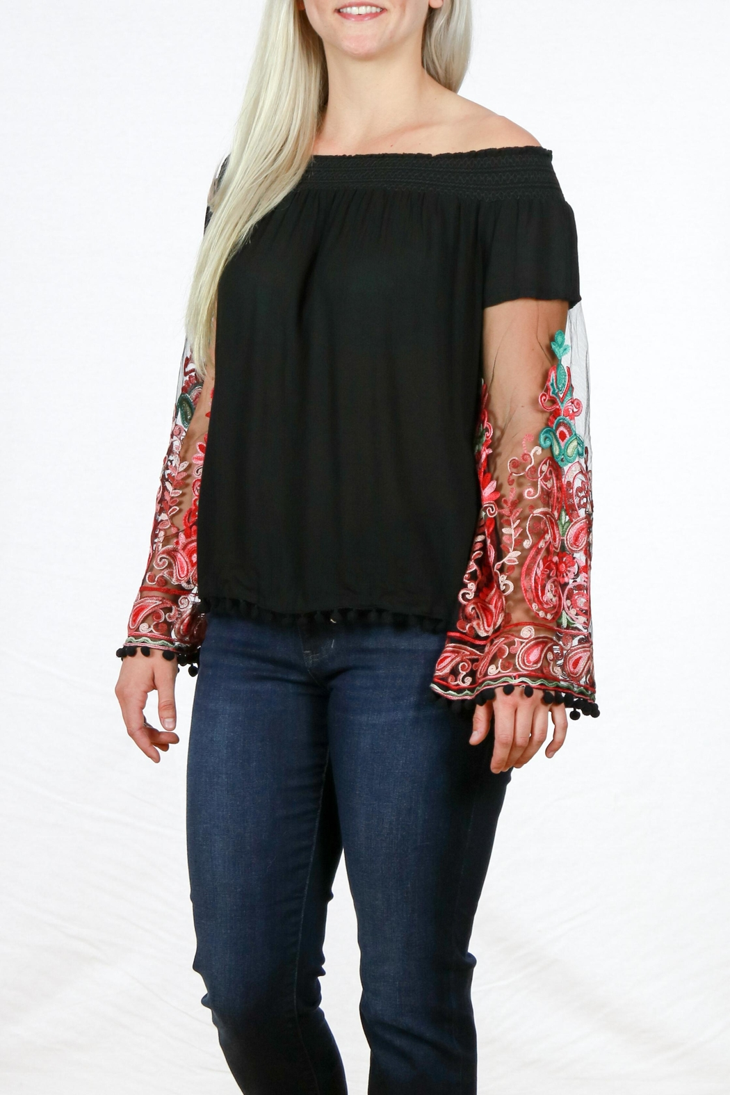 Mono Reno Embroidered Sleeve Top - Back Cropped Image
