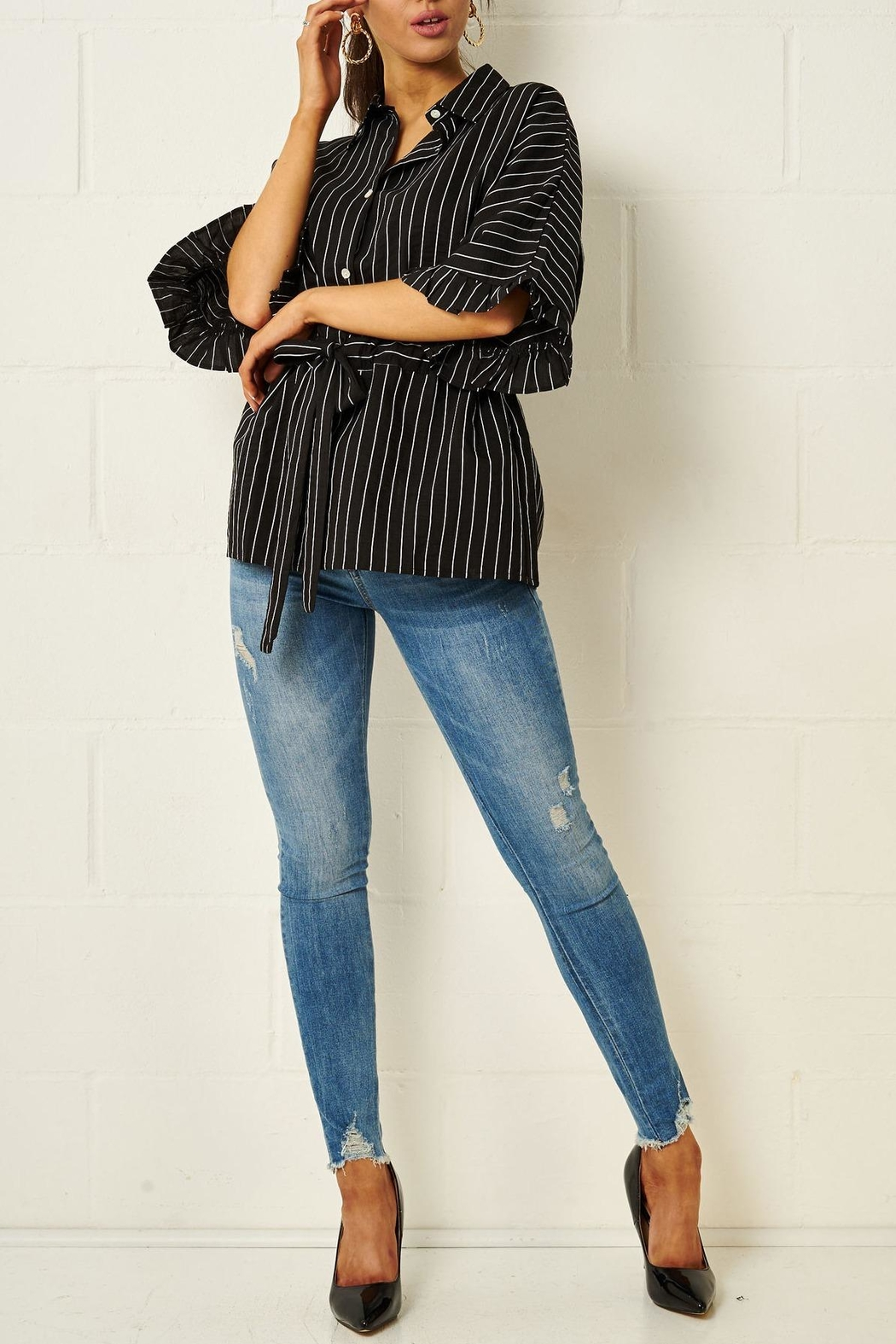 frontrow Monochrome Striped Shirt - Side Cropped Image