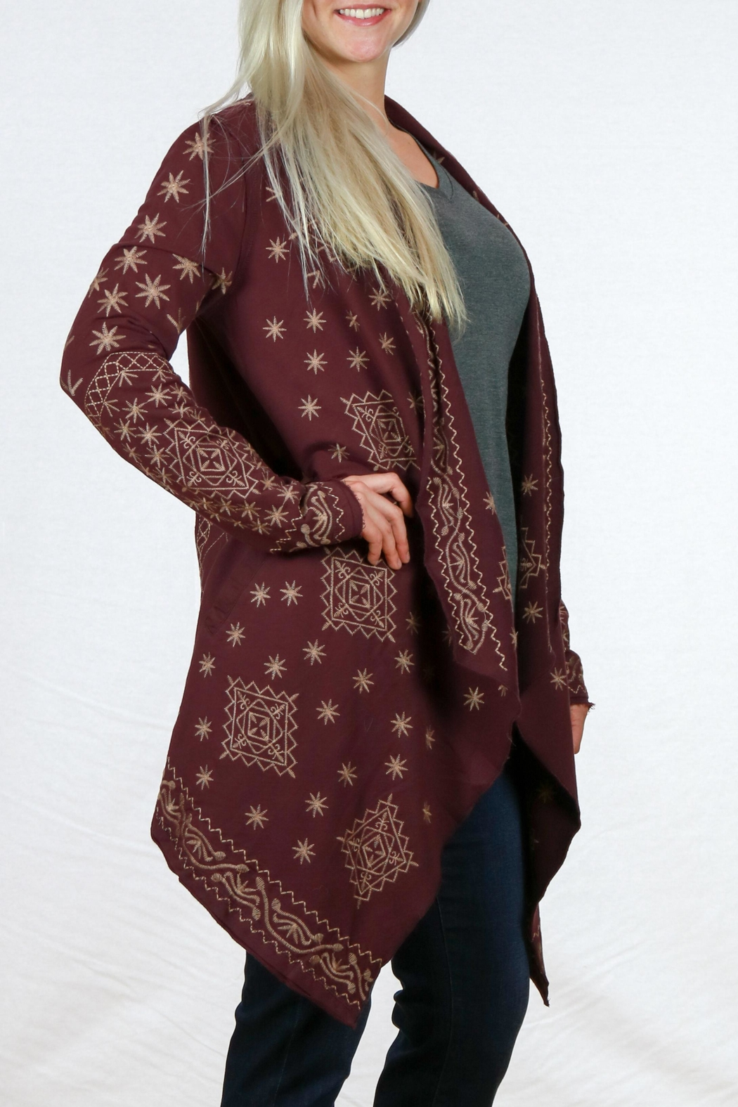 Monoreno Asymmetrical Embroidered Cardigan - Front Full Image