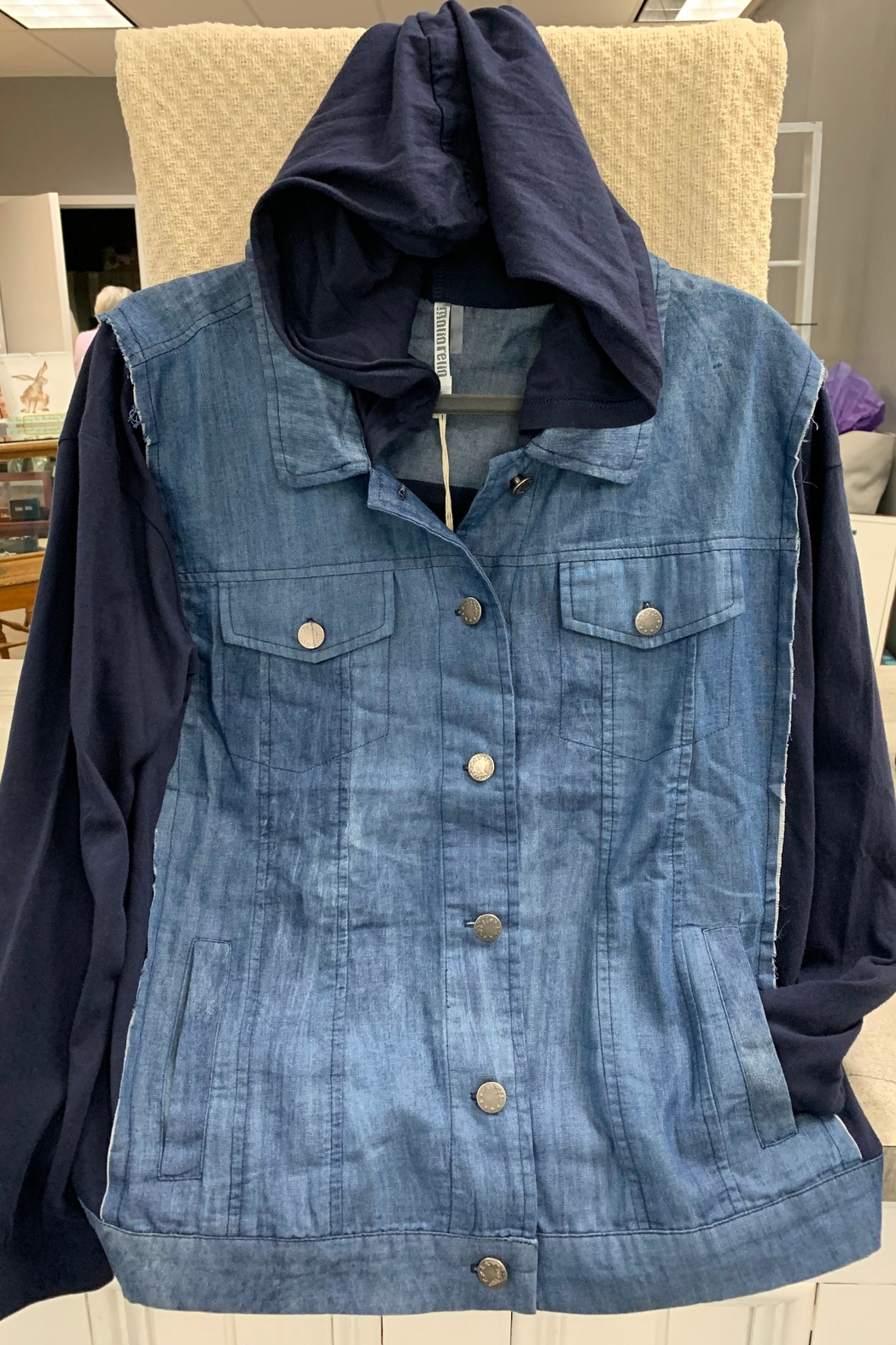Monoreno Denim Hooded Jacket - Front Cropped Image