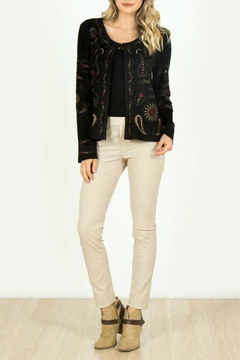 Shoptiques Product: Embroidered Faux-Suede Cardigan