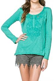 Monoreno Embroidered Henley Top - Product Mini Image